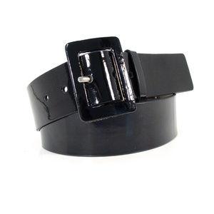 NINE WEST Wide Genuine Patent Leather Belt